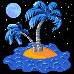 vector two palm trees on an island in the ocean at midnight