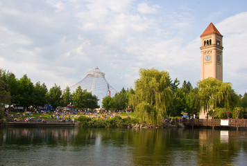 Spokane River in Riverfront Park with Clock Tower