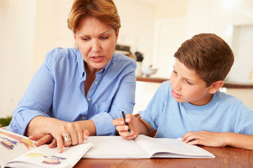 Grandmother Helping Grandson With Homework