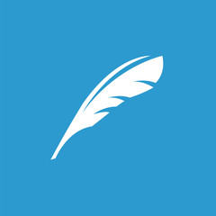 feather icon, white on the blue background .