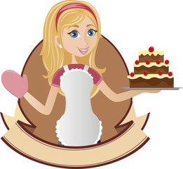 Cooking girl holding cake