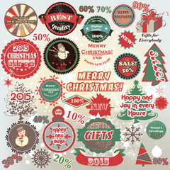 Christmas and New Year  vector labels set in retro style