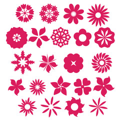 set of pink flower icon, vector