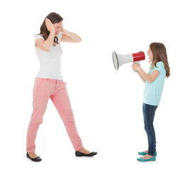 Angry Daughter Shouting Through Mother At Daughter