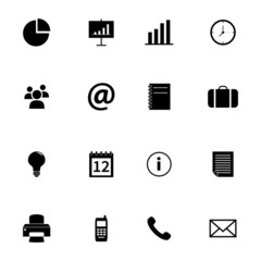 Set of black flat icons - office and business