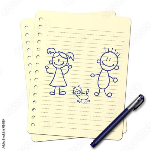 """Dessin Frere Et Soeur dessin au stylo : frère et sœur"""" photo libre de droits sur la banque"""