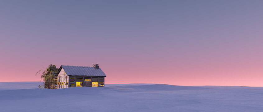 Winter snow landscape at sunset with solitude cabin.