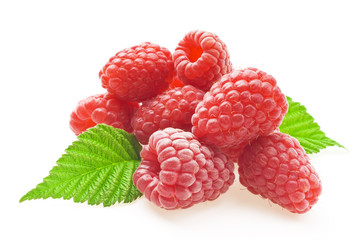 Red berry raspberry isolated on white background
