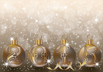 New 2015 year golden background, vector