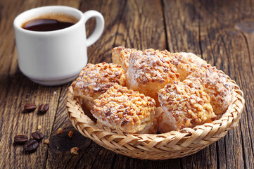 Cookies of puff pastry and coffe