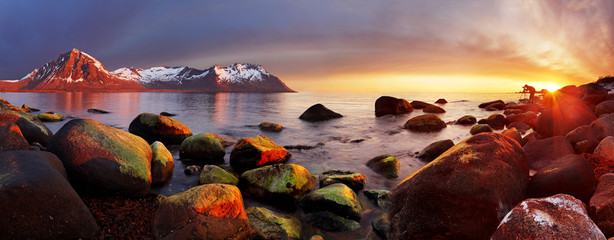 Wall Mural - Ocean coast at sunset, panorama, Norway