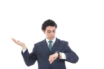 Portrait of successful business man looking at his wrist watch