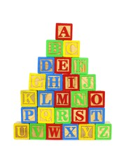 Stack of colorful toy wooden block letters