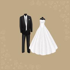 wedding dress and black men's suit