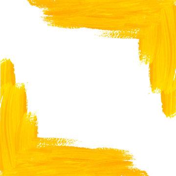 Yellow vector brush strokes corner