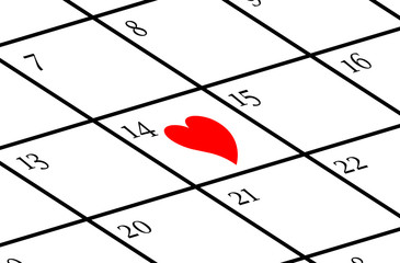 Calendar with Valentine's day