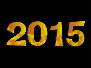 Happy New Year 2015 Gold Triangle Text Message  Vector
