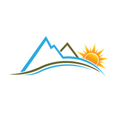 Mountains and Sun image logo