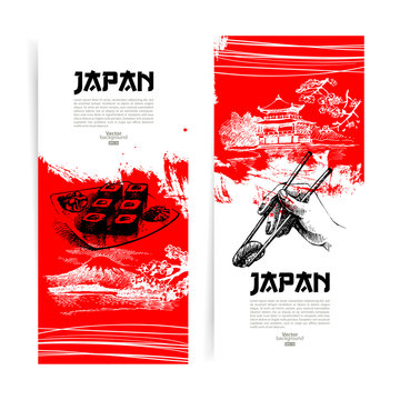 Set of Japanese sushi banners. Sketch illustrations for menu