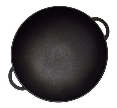Empty iron wok.