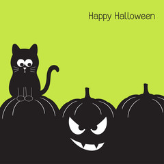 Halloween card with funny black cat and spooky pumpkin