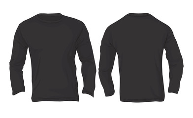 Men's Long Sleeved T-Shirt Template, Black Color