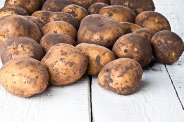 Organic potatoes closeup