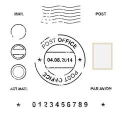 Obraz Set of post stamp symbols, vector illustration - fototapety do salonu