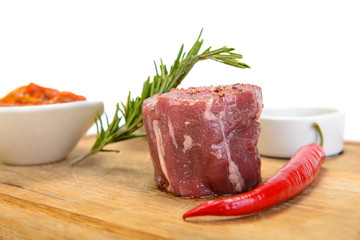 Steak on wood plate