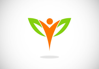 eco vegetarian health fitness vector logo