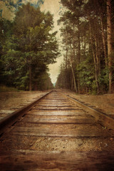 Door stickers Railroad Old railroad tracks with vintage texture effect