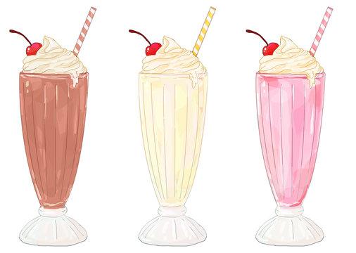 Milkshakes - chocolate, vanilla/banana and strawberry