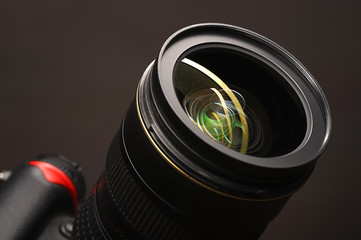 objective with lense reflections. Shot in studio.