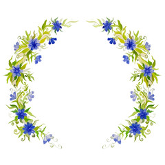 watercolor bright beautiful flower wreath for decoration