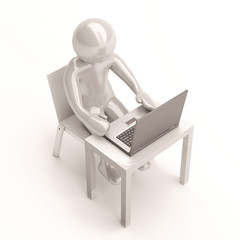 3d character Working on computer
