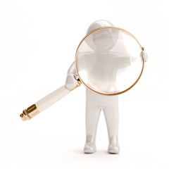 3d white people with a magnifying glass