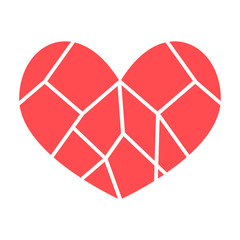 broken heart red vector