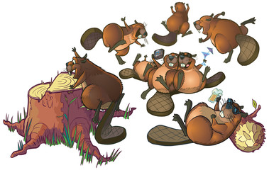 Cute Cartoon Beavers Party Vector Cartoon Clip Art