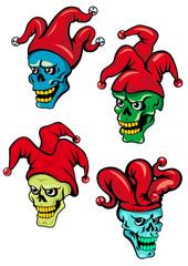Cartoon clown and joker skulls