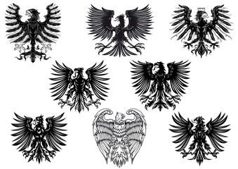 Heraldic royal medieval eagles