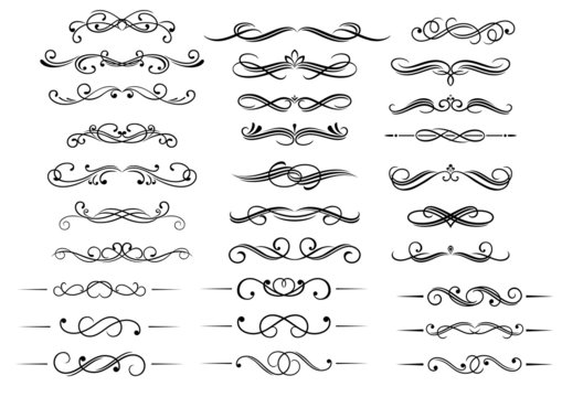 Calligraphic elements and headers set