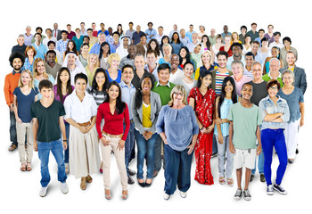 Large group of Multiethnic people Isolated on White