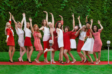 Hen party: white and red
