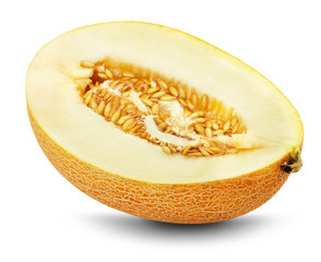 Slice of melon on the white background