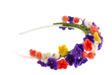 women's jewelry wreath on head of flowers and berries
