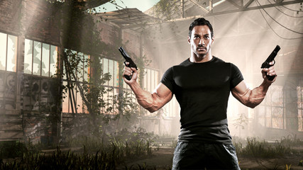 Action hero muscled man holding two guns. Standing in abandoned