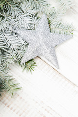 Christmas decoration on a white wooden background
