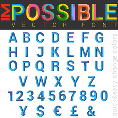 ABC Font impossible letters vector design. Alphabet logo
