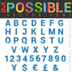 ABC Font impossible letters vector design. Alphabet logo