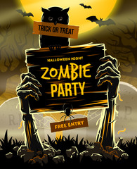 Halloween vector illustration - invitation to zombie party